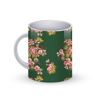 ロシアの伝統的な花柄のコーヒーカップテンプレートイラスト。