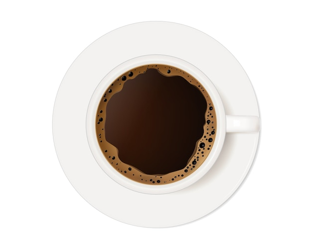 Coffee cup top view on a white background