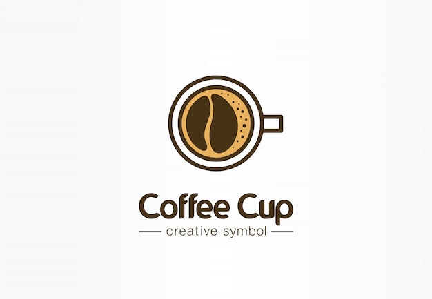 Coffee cup top view with bean shape foam creative symbol concept. cafe menu, restaurant abstract business logo idea. fresh espresso icon
