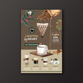 Coffee cup type, americano, cappuccino, espresso menu, infographic watercolor illustration