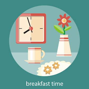 Coffee cup, vase with a flower and plate of cookies on table. breakfast time clock concept in flat design