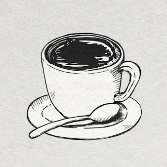 Coffee cup vintage graphic in black and white