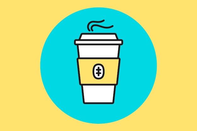 Чашка кофе. белая кофейная чашка на синем фоне мяты. иллюстрация