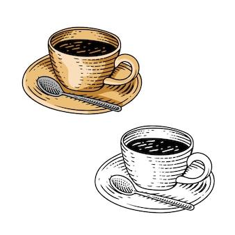 コーヒーカップ白いスプーン手描き