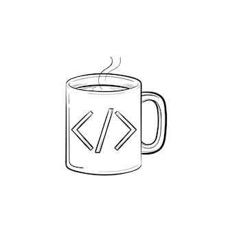 코드 기호 손으로 그린 개요 낙서 아이콘이 있는 커피 컵. 뜨거운 음료와 음료, 컴퓨터 코드 개념