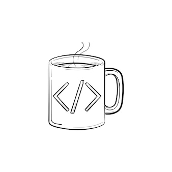 Coffee cup with code sign hand drawn outline doodle icon. hot drink and beverage, computer code concept