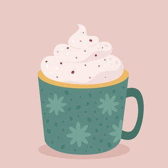 Чашка кофе со сливками горячего шоколада осенне-зимний горячий напиток