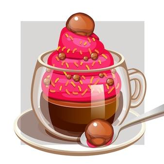 Чашка кофе со сливочной жевательной резинкой и шоколадной посыпкой