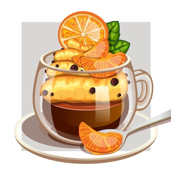 Coffee cup with creamy vanilla orange and mint