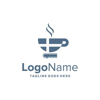 クロスと本のシンプルで洗練された創造的な幾何学的なモダンなロゴデザインのコーヒーカップ