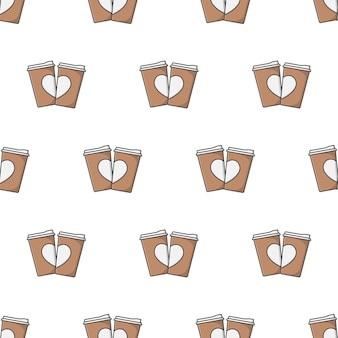 Coffee cup with heart seamless pattern on a white background. coffee theme vector illustration