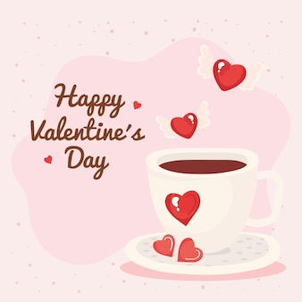 Coffee cup with hearts love romantic and lettering  illustration