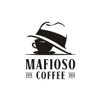 탐정 레스토랑 바 로고 디자인을 위한 마피아 마피오소 모자 갱 갱스터 범죄가 있는 커피 컵