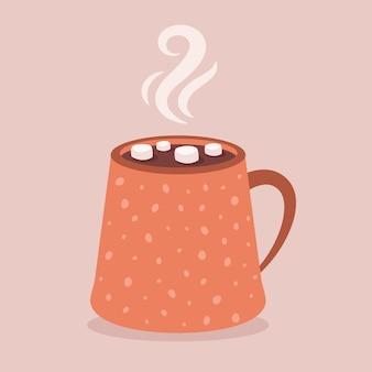 마시멜로 핫초코가 든 커피 컵 가을과 겨울 뜨거운 음료