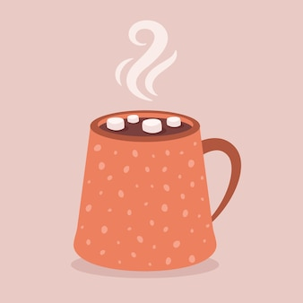 Coffee cup with marshmallow hot chocolate autumn and winter hot drink
