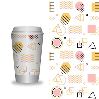 패턴 템플릿이 있는 커피 컵
