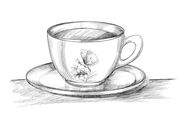 Coffee cup with plate hand draw sketch design