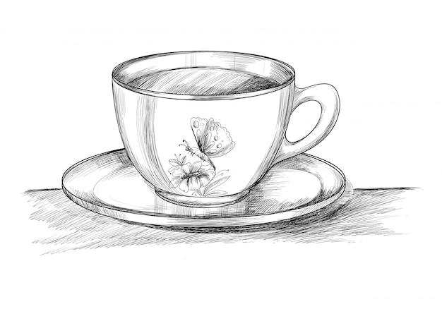 プレート手でコーヒーカップを描くスケッチデザイン