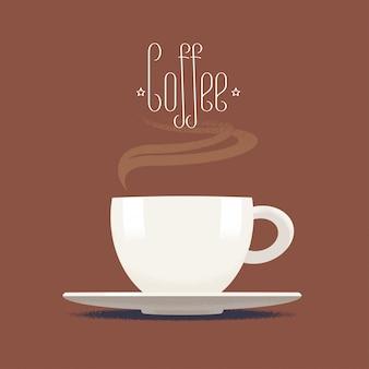 Кофейная чашка с иллюстрацией пара, элементом дизайна, значком, предпосылкой. капучино, эспрессо имидж
