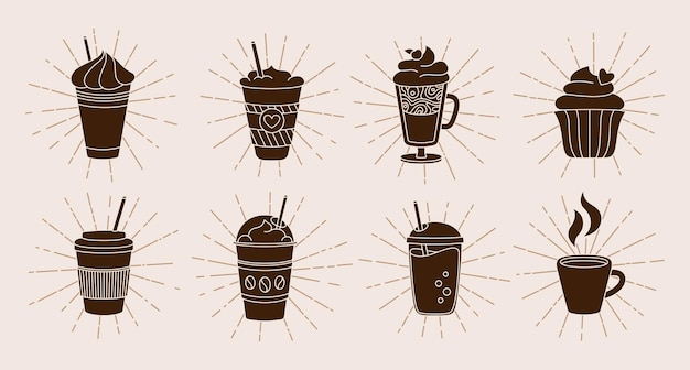 Coffee cup with sunburst or light rays cartoon set trendy doodle flat various cups to go bursting sun rays hot chocolate linear drawing different coffee cup icon collection
