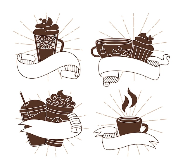 サンバーストリボン付きコーヒーカップ漫画アイコンセットトレンディな落書きフラットさまざまなカップがバースト太陽光線に行く古いヴィンテージヒップスターテープホットチョコレートリニアティー別のコーヒーカップ