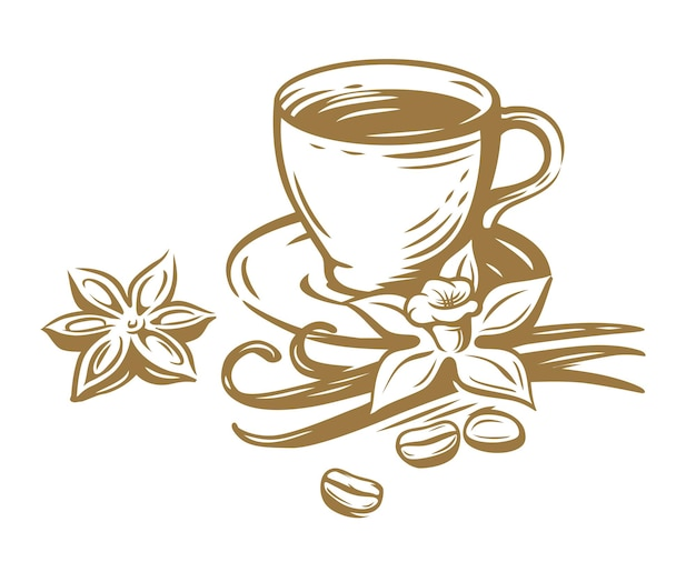 Coffee cup with vanilla and beans.