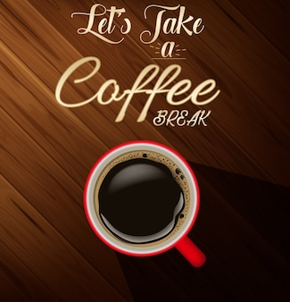 Coffee cup with wood texture background