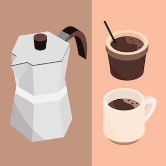 コーヒーカップとフレンチプレス醸造アイソメトリックアイコンデザインイラスト