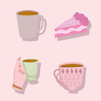 Coffee cups and cake