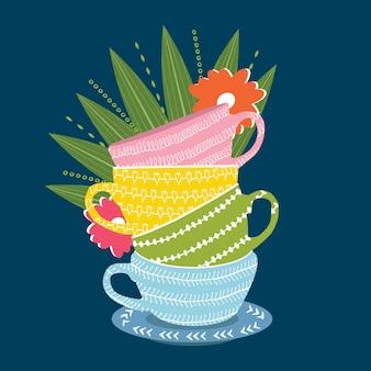 互いに集められたコーヒーカップ