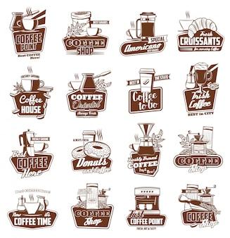 Coffee cups, pot and espresso machine with dessert