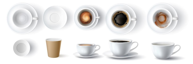 Coffee cups. realistic 3d empty, dirty, ceramic and paper cup. americano with foam and espresso top and side view. coffees mockup vector set. illustration closeup cup mock up, disposable container