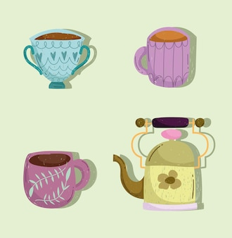 Coffee cups and teapot