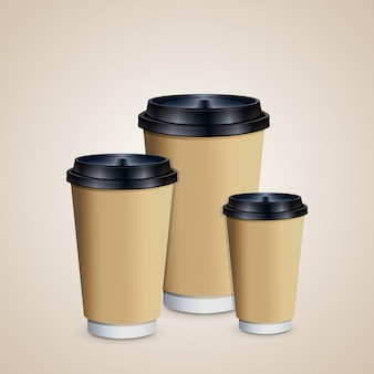 Coffee cups with brown holder to go. cups of different size.