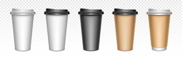 Coffee cups with closed lids, packaging. blank plastic or paper mugs for hot drinks, street take away cafe utensil for beverages.