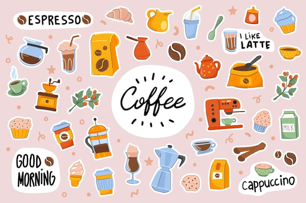 Coffee cute stickers template scrapbooking elements set