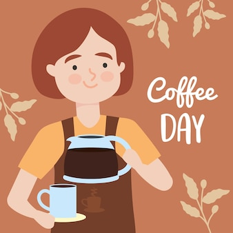 Coffee day illustration with barista woman