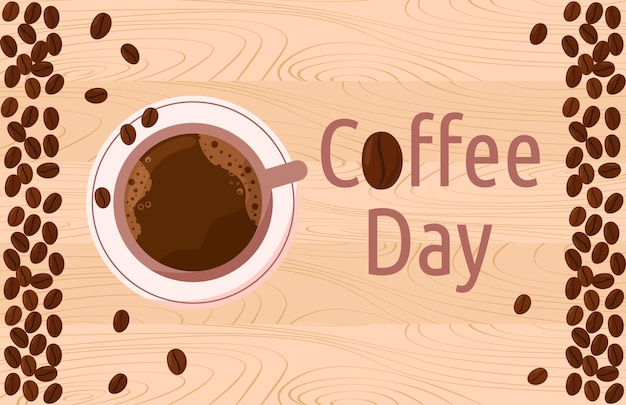 Coffee day international holiday cup of americano and coffee beans on wooden table top view