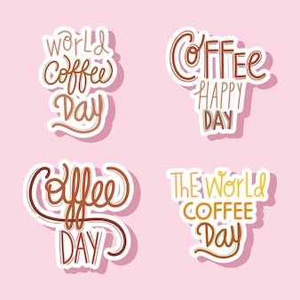 Coffee day lettering set