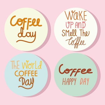 Coffee day text set