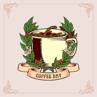 Coffee day vintage badge with glass and ribbon