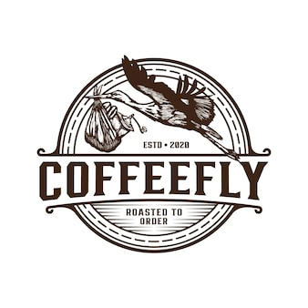 Coffee delivery with bird retro logo template