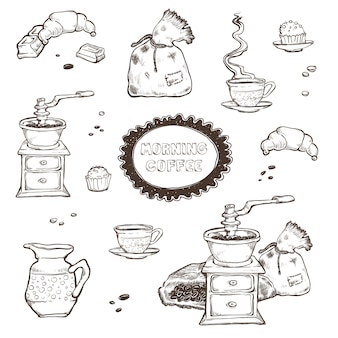 Coffee and dessert set illustration. food elements isolated on white