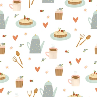 Coffee and desserts pattern