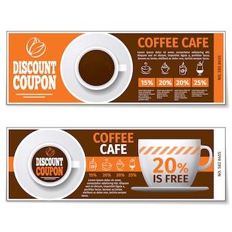 コーヒー割引クーポンまたはギフト券。ラベルコーヒー割引、バナークーポン、バウチャーコーヒーエスプレッソ、無料ギフトイラスト。ベクトルテンプレート