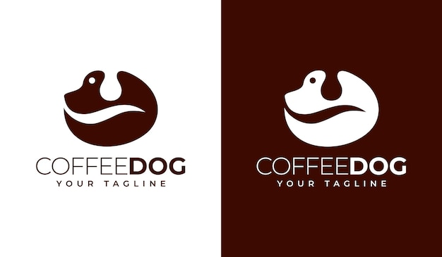 Кофе собака логотип креативный дизайн