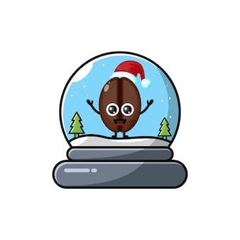 コーヒードームクリスマスかわいいキャラクターのロゴ
