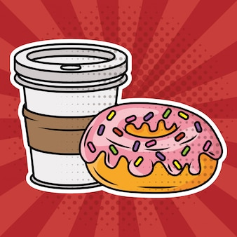 Coffee and donut pop art style Free Vector