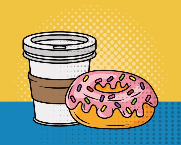 Coffee and donut pop art style