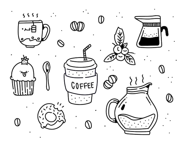 커피 낙서 스타일 일러스트
